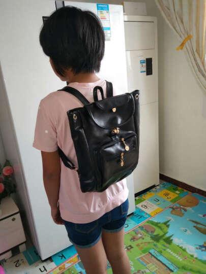 韩版双肩包女学院风潮女休闲中学生书包女士皮抽带旅行背包 236款粉色 晒单图