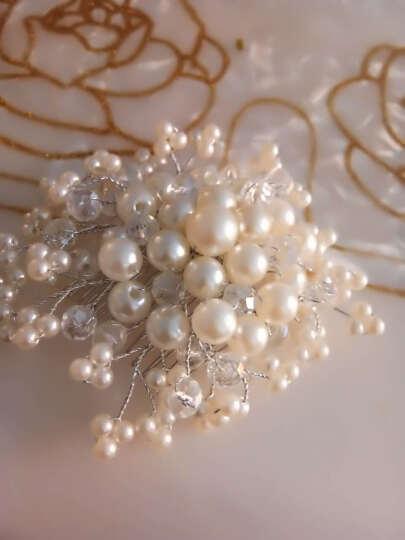 新娘头饰 红色手工珍珠头花 韩式新娘发饰发梳 红色婚纱旗袍礼服配饰 白色 晒单图