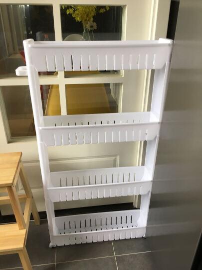 十一维度 厨房置物架夹缝置物架储物架可移动带滑轮浴室收纳架缝隙整理车 加厚四层(黄色) 晒单图
