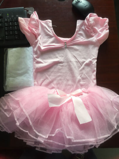 儿童舞蹈服装芭蕾舞裙 女童舞蹈服练功服短袖女孩舞蹈裙跳舞衣演出服 粉色长袖款 110cm 晒单图