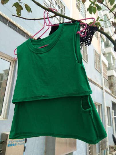 魅芷2019夏季字母圆领无袖宽松假两件T恤背心女 绿色 均码 晒单图