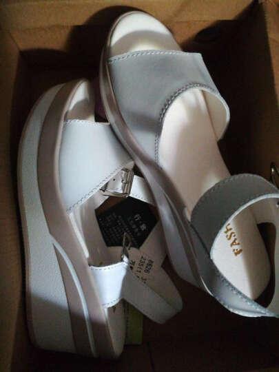 行·致 2017夏季新款坡跟女鞋休闲韩版平底凉鞋女增高百搭学生鞋子女 白色 37 晒单图