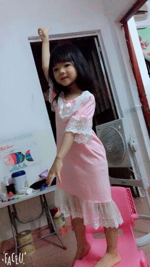 女童睡衣夏季纯棉儿童睡裙短袖公主中大童家居服 8203套装 肉粉色 130cm(建议身高123-132cm) 晒单图