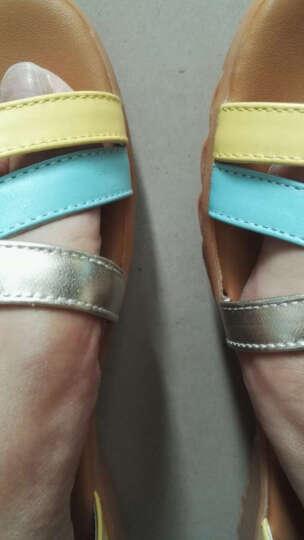 红蜻蜓凉鞋 时尚拼接凉鞋休闲女鞋 WNK61601/02/03 蓝色 38 晒单图