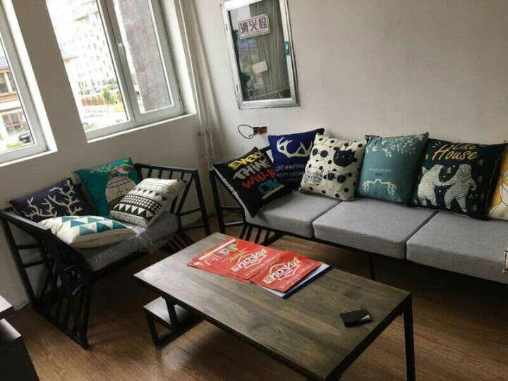 北欧loft工业风复古铁艺沙发酒吧咖啡厅客厅会客接待沙发椅实木茶几组合 整套两单一双一茶几 晒单图