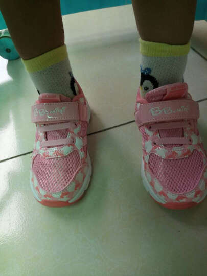开心米奇 BB.MIQI 童鞋 夏季新品女童鞋软底网面透气儿童运动鞋休闲跑步鞋 F21723157 粉红27码 晒单图