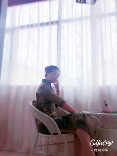薇若依2018秋款上新长款七分袖双层香云纱双层旗袍日常修身显瘦气质连衣裙礼服 79模特花色 XXXL 晒单图