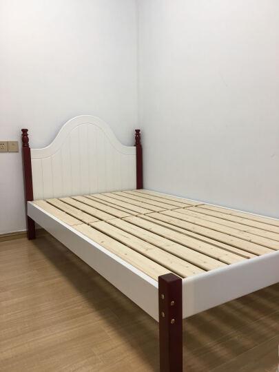 怡美达 床实木床单人床1.2米床欧式床1.5米1.8米双人床 白棕色床(送床垫) 1.2*2米 晒单图
