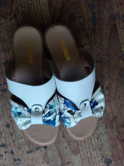 2017拖鞋时尚外穿印花平底一字女士凉拖鞋女夏室外沙滩旅游凉鞋 1525蓝色 37 晒单图