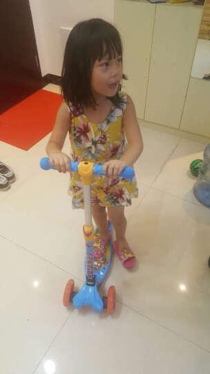 美洲狮(COUGAR)儿童滑板车 一秒折叠3挡升降全轮闪光小孩扭扭踏板车 天蓝色 晒单图