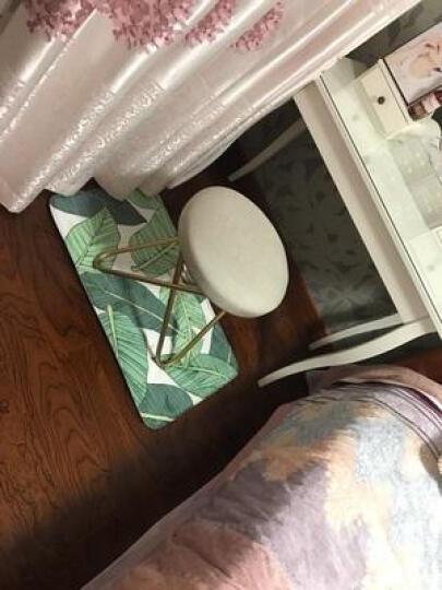 阿洛古斯 欧式妆台凳时尚布艺化妆凳简约创意换鞋凳美式化妆椅铁艺梳妆凳子床尾凳 典雅黑A 48*39cm 晒单图