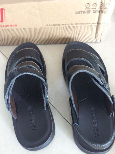 意尔康男鞋夏季套脚两穿男凉鞋牛皮舒适透气清凉男士沙滩鞋7342ZS97001W 黑色 38 晒单图