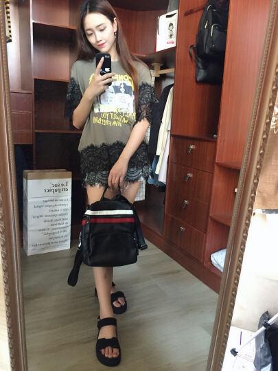 巴铂 2018新款双肩包女韩版潮软皮时尚百搭两用休闲旅行背包 黑色小熊款8011 晒单图