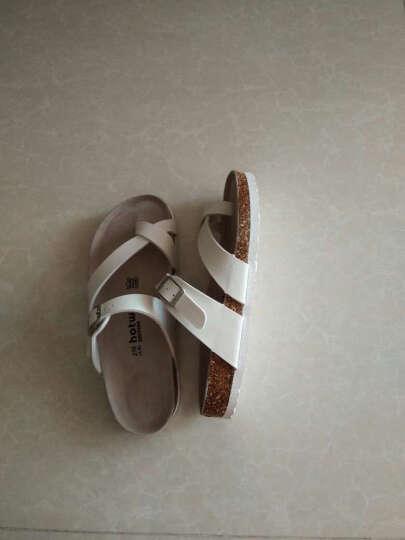 热风拖鞋女春夏新款皮带扣拖鞋女士纯色套趾休闲软木拖H60W6201 04白色 37 晒单图