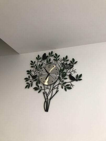 橡家 客厅静音创意挂表 铁艺田园欧式艺术时尚个性大壁钟倦鸟归巢客厅挂钟 金属表盘绿色叶子 晒单图