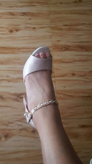 百年纪念2017夏季新款鱼嘴鞋一字扣欧美粗跟凉鞋罗马露趾女高跟鞋 1456粉色 38 晒单图
