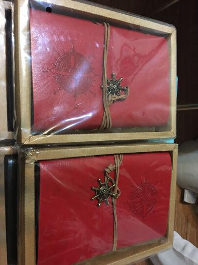 航海日记本子  创意个性复古牛皮纸皮革记事本厚本子  潮流精美旅行笔记本子盒装手账本 红色 晒单图