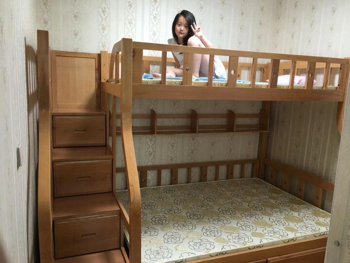 大梵林高低床儿童床子母床双层床实木上下床双层床榉木床成人 (原木色)梯柜双层床+书架+床底抽屉 1500*2000 晒单图