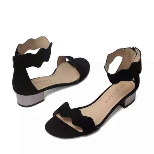STACCATO/思加图凉鞋女夏季专柜同款银色羊皮女凉鞋9US04 黑色 36 晒单图