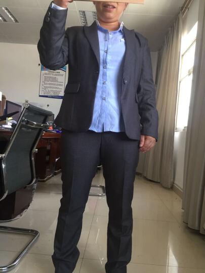 伊雅露莎小西装女职业装女装套装2018新款网纱袖时尚工作服669 黑西装+短裙+白衬衣 3XL 晒单图