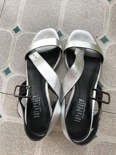 JoyPeace真美诗2017新品夏季简约粗跟一字带女凉鞋 深兰色 35 晒单图