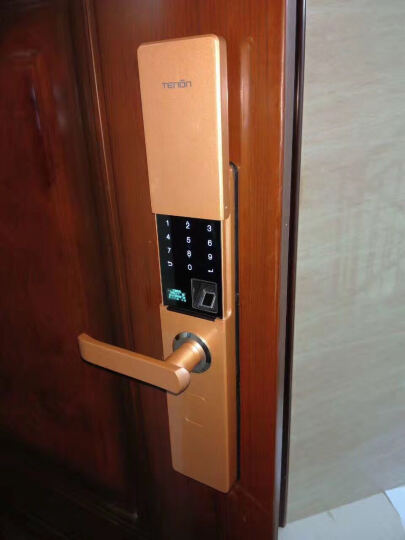 亚太天能(TENON)  V9智能电子门密码锁指纹锁室内卧室防盗门木门房门铁门锁芯具 香槟金+指纹+密码+钥匙 晒单图