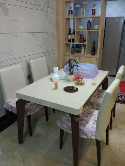 唯特朗 北欧简约现代 小户型餐桌椅组合 4人6人餐台实木 钢琴烤漆长方形钢化玻璃特价K36 特价一桌4椅BY103 1400*800*750 晒单图