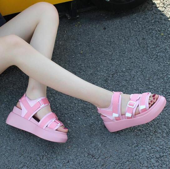 vis kitty新品 时尚潮牌 专柜正品 时尚厚底休闲凉鞋女 粉色 39 晒单图