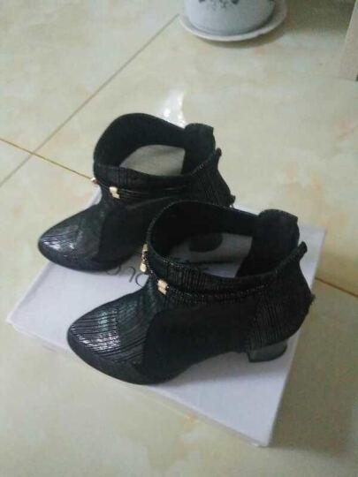 众踱新款欧美签纹羊皮粗高跟短靴女纱网水钻凉靴女 黑色 38 晒单图