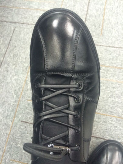 圣大保罗休闲鞋男真皮夏季透气学生板鞋休闲皮鞋平板鞋男 黑色 42 晒单图