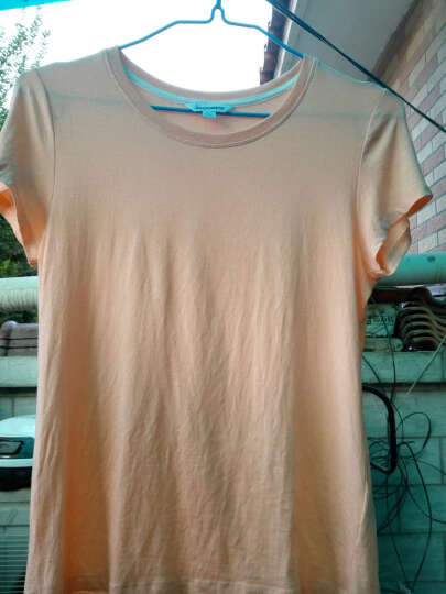 真维斯女装  夏装    弹性棉混纺圆领净色短袖T恤JW-62-273501 8241 虾玉色 L 晒单图