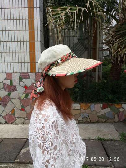 迷人微笑 遮阳帽女士夏天韩版运动户外防晒草帽可折叠大檐太阳帽新品 米色09 晒单图
