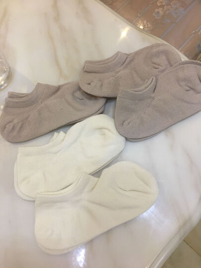 摩形大麻汉麻女袜子抗菌防臭透气排湿舒适棉麻网眼船袜三双装 珍珠白*2/米卡其*1 均码(34~38码) 晒单图
