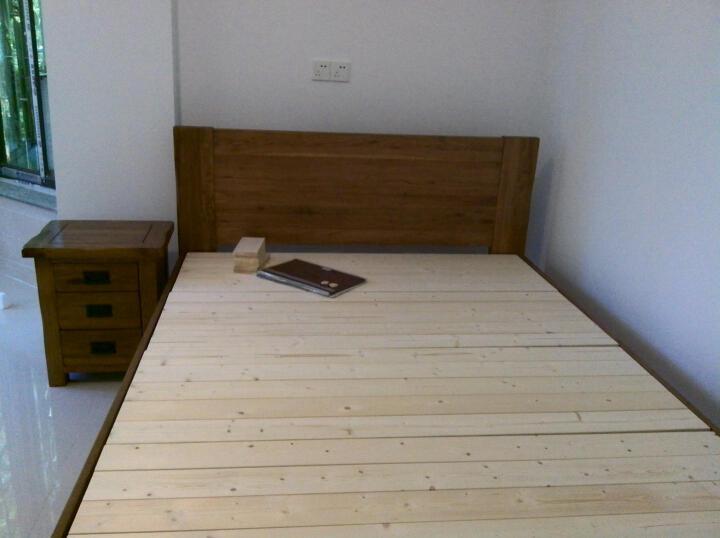 华谊 实木床 双人床1.8米 单人床1.5米 美式乡村北欧式白橡木结婚大床 1.2米仿古色低铺板(清漆) 晒单图