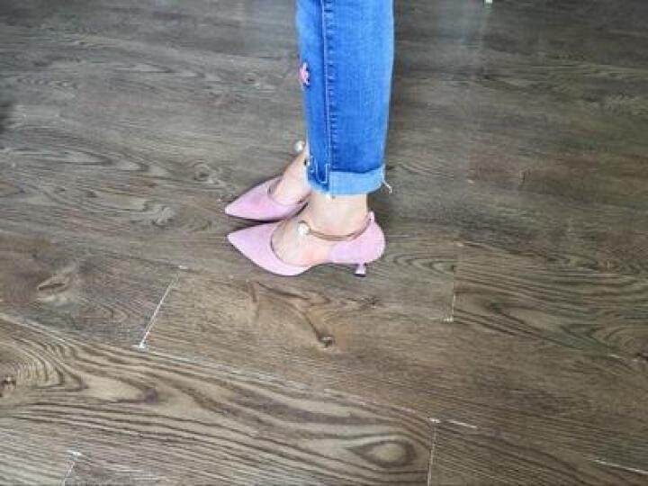2018春夏新款绑带尖头中高跟凉鞋女羊皮婚鞋包头马丽珍大码鞋子40-41-42小码33 杏色5.5厘米 35 晒单图