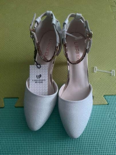 卡芭斯2019新款凉鞋女夏性感中跟高跟鞋欧美时尚细跟包头浅口女单鞋子 白色 38 晒单图