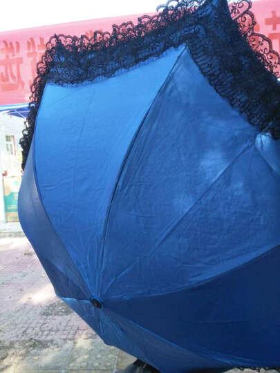 天堂伞(UPF50+)防紫外线太阳伞女男通用蕾丝花边晴雨伞蘑菇遮阳伞33051E娴淑佳丽 1#深蓝 晒单图