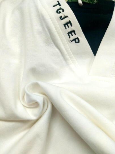 特工吉普  短袖T恤男  2017夏季新款男士韩版修身V领青年休闲上衣服 灰色 XL/180 晒单图