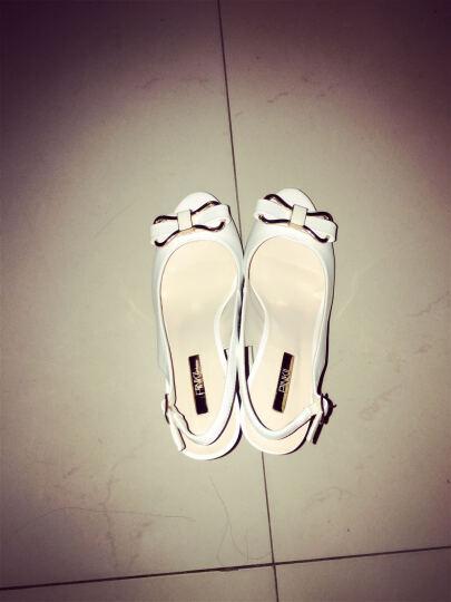 鞋柜/苹绮夏款蝴蝶结鱼嘴凉鞋高跟鞋女鞋 白色 36 晒单图