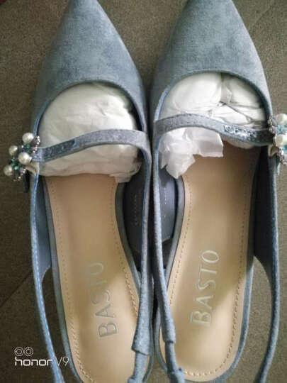 BASTO/百思图夏羊绒布时尚优雅女后空凉鞋0591DBL7 粉色 35 晒单图