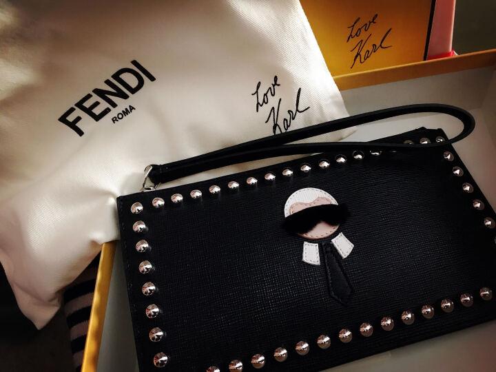 FENDI 芬迪 男士KARLITO FLAT POUCH系列黑色牛皮钉饰手拿包 8M0341 7MP F0V3X 晒单图