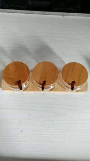 物生物RELEA玻璃调味罐套装竹木盖厨房用品调味罐调味瓶盒 3调味罐+1底托+3勺子 晒单图