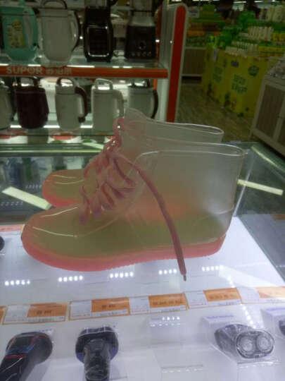 韩版时尚短筒马丁雨靴防滑春季水鞋套鞋胶鞋水晶透明果冻雨鞋女 粉色 38 晒单图