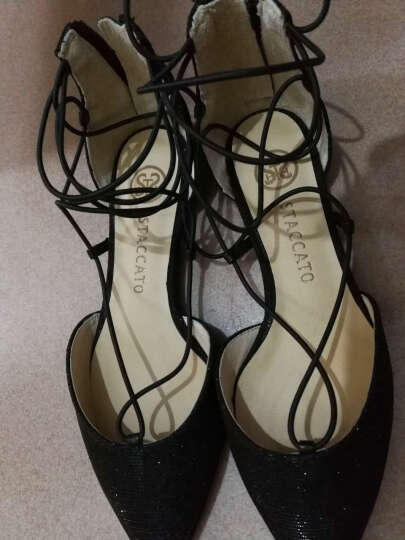 STACCATO/思加图春季专柜同款黑色亮片布女凉鞋9E501 黑色 38 晒单图