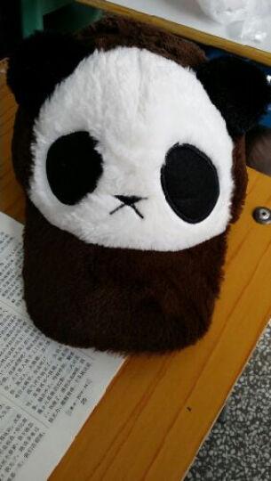 哲时 秋冬季男女士可爱熊猫鸭舌棒球帽亲子卡通儿童毛绒帽子MZ1137 咖啡色 成人56-62可调节 晒单图