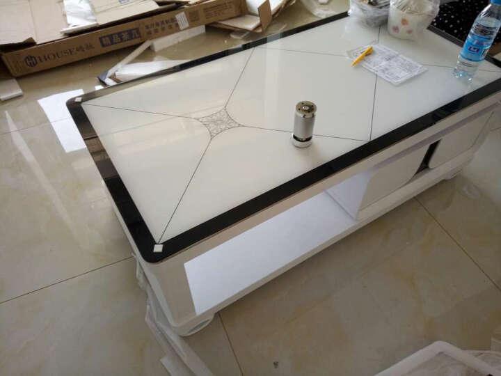 美好未来 电视柜 简约 钢化玻璃电视柜茶几组合套装 伸缩电视机柜 小户型客厅家具 烤漆地柜 黑白玻璃 电视柜+1.2米茶几 晒单图