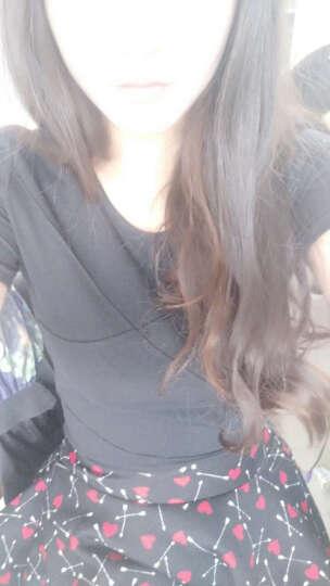 简杭2017韩版女装大码春夏新品上衣格纹立体打底衫修身显瘦弹力长短袖T恤女 长袖白色 XXL 晒单图