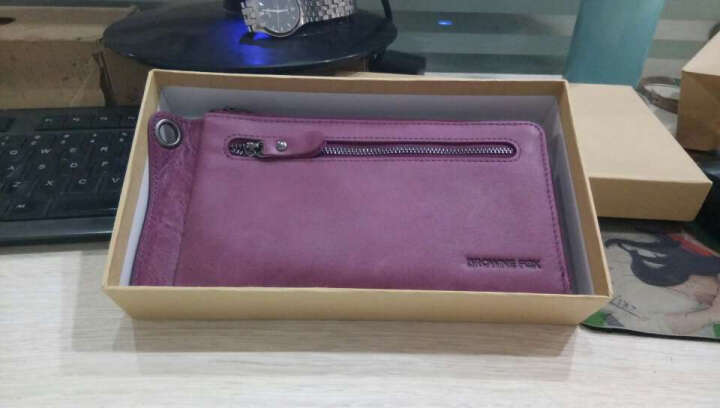 BROWNEFOX女士钱包牛皮长款手拿包情侣款多功能韩版潮流卡包手机包 BF-NB6039 木槿紫 晒单图