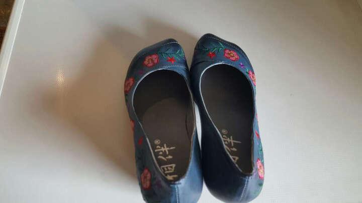 相伴春季新品女鞋 手工原创民族风彩绘刺绣花朵女单鞋真皮浅口鞋 蓝色 36 晒单图