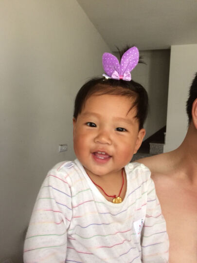 韩版儿童头饰韩国儿童发饰品女童配饰碎花立体耳朵发夹 印点款  紫色 晒单图